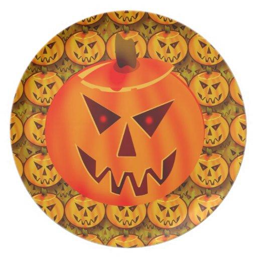Evil Jack-O-Lantern Plate