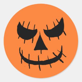 Evil Jackolantern Face Classic Round Sticker