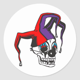 evil jester clown skull classic round sticker