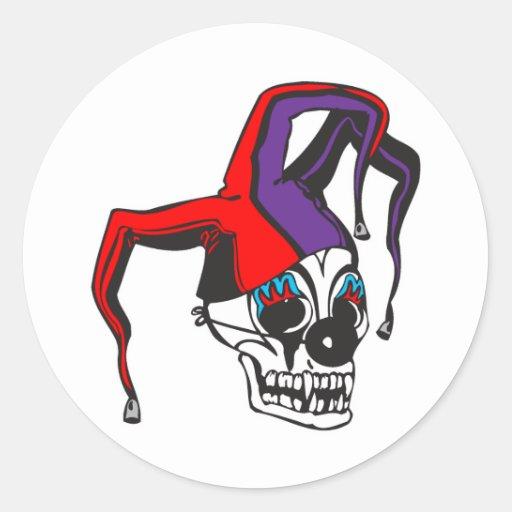 evil jester clown skull round stickers