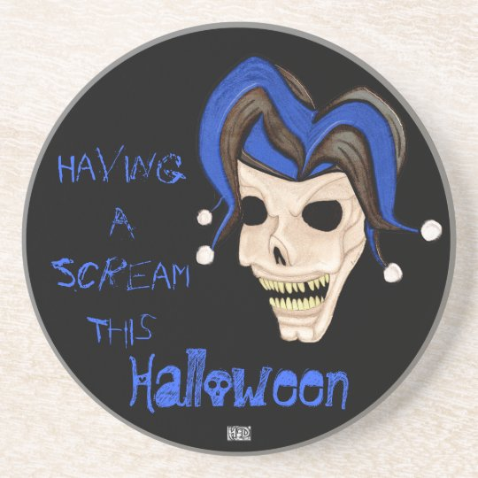 Evil Jester Skull (Blue) Halloween Sandstone Coaster