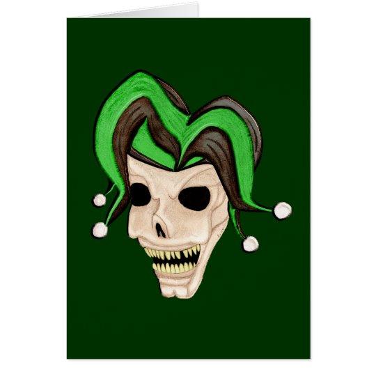Evil Jester Skull (Green) Card