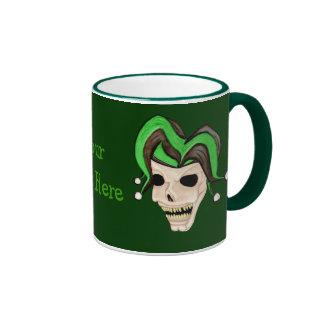 Evil Jester Skull (Green) Coffee Mugs