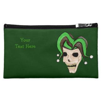 Evil Jester Skull (Green) Cosmetic Bag