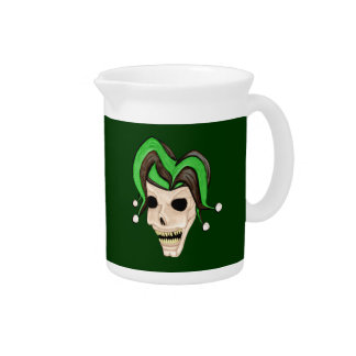 Evil Jester Skull (Green) Drink Pitchers