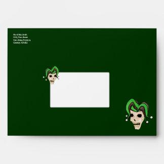 Evil Jester Skull (Green) Envelope