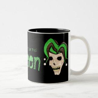 Evil Jester Skull (Green) Halloween Coffee Mug