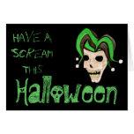 Evil Jester Skull (Green) Halloween Greeting Card