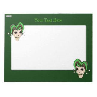 Evil Jester Skull (Green) Notepad