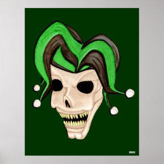 Evil Jester Skull (Green) Print