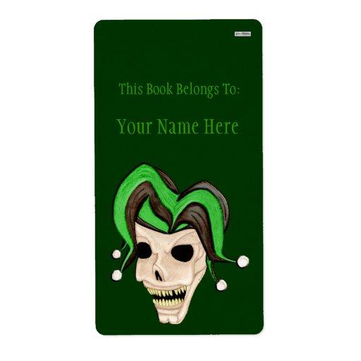 Evil Jester Skull (Green) Shipping Label