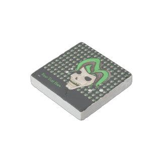 Evil Jester Skull (Green) Stone Magnet