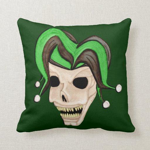 Evil Jester Skull (Green) Throw Pillow