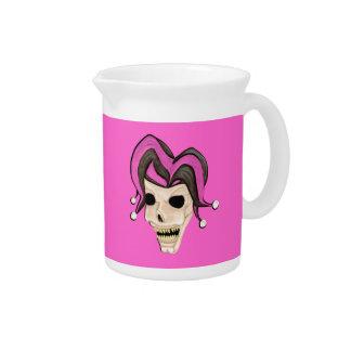 Evil Jester Skull (Pink) Drink Pitcher
