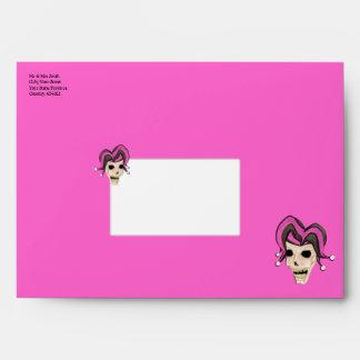 Evil Jester Skull (Pink) Envelope
