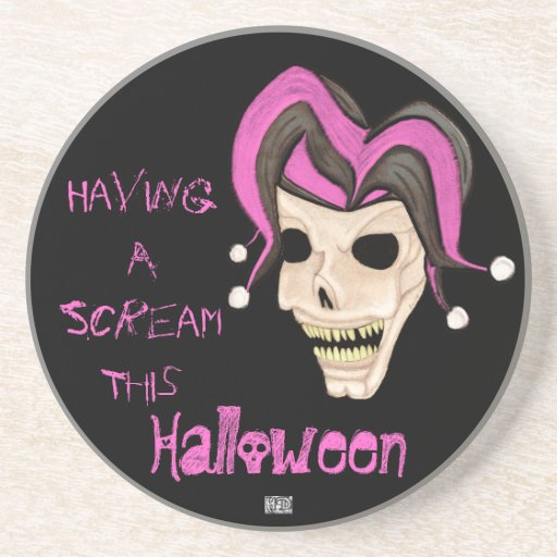 Evil Jester Skull (Pink) Halloween Drink Coaster