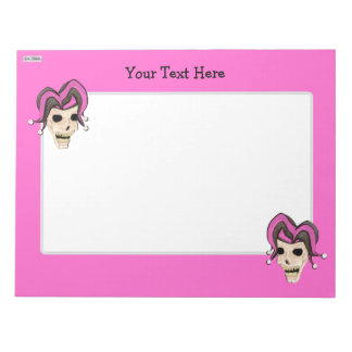 Evil Jester Skull (Pink) Notepad