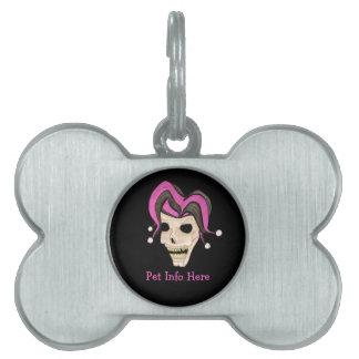 Evil Jester Skull (Pink) Pet Name Tag
