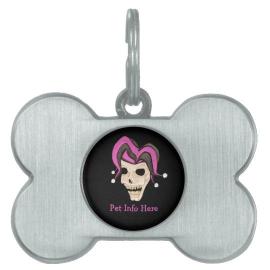 Evil Jester Skull (Pink) Pet Tag