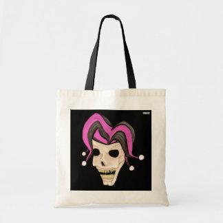 Evil Jester Skull (Pink) Tote Bag