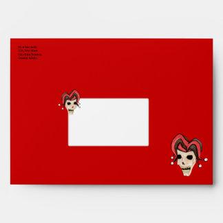 Evil Jester Skull (Red) Envelope