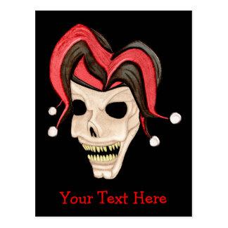 Evil Jester Skull (Red) Postcard