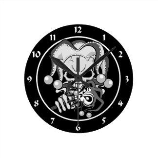Evil Jester Skull Round Clock