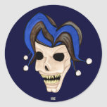 Evil Jester Skull Round Sticker