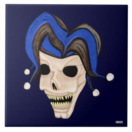 Evil Jester Skull Tile