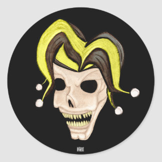 Evil Jester Skull (Yellow) Classic Round Sticker