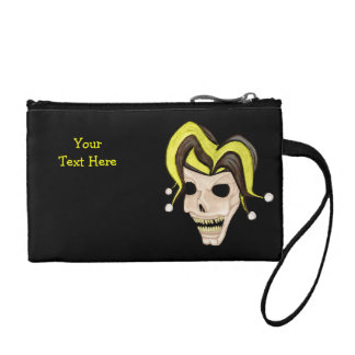 Evil Jester Skull (Yellow) Coin Purse