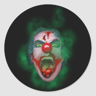 Evil Joker Clown Face Classic Round Sticker