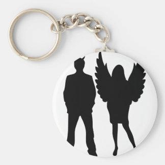 evil man and angel woman keychain
