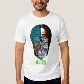 evil mummified alien skull face t-shirt