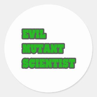 Evil Mutant Scientist Round Sticker