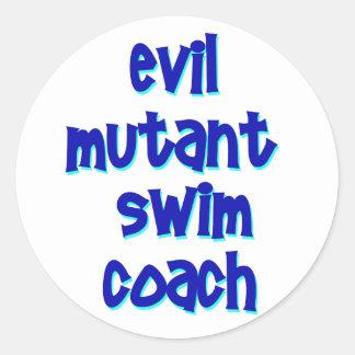 Evil Mutant Swim Coach Classic Round Sticker