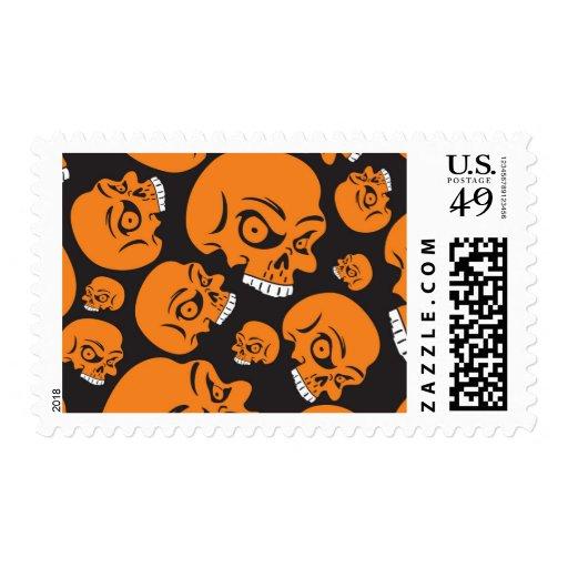 Evil Orange Skulls Pattern Postage