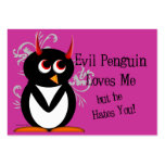 Evil Penguin Anti-Valentines day cards Business Cards