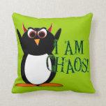 Evil Penguin Chaos Pillow