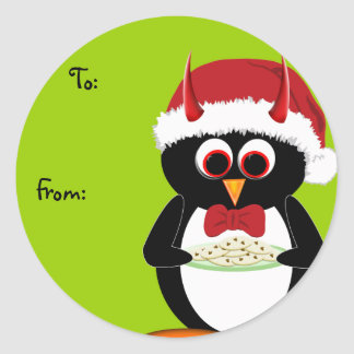 Evil Penguin Christmas Labels Classic Round Sticker