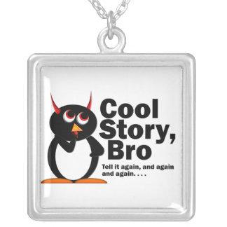 Evil Penguin™ Cool Story Bro! Square Pendant Necklace