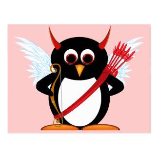 Evil Penguin Cupid Valentine Postcard