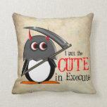 Evil Penguin - Cute in Execute Throw Pillows