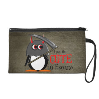 Evil Penguin Cute in Execute Wristlet Purse