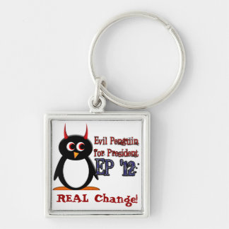 Evil Penguin for President 2012 Silver-Colored Square Keychain