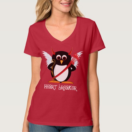 Evil Penguin Funny Cupid T-Shirt