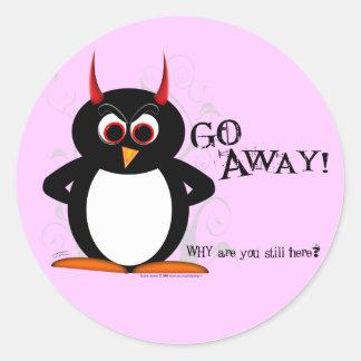 Evil Penguin Go Away! Round Stickers