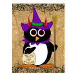 Evil Penguin Halloween Witch Postcard