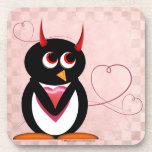 Evil Penguin™ Hearts Drink Coaster