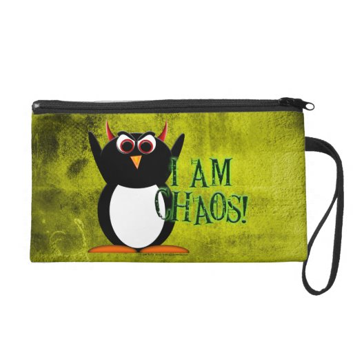 Evil Penguin I Am Chaos Wristlet